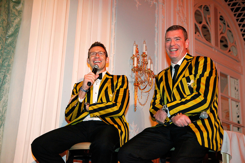 Photo: Richard Lane/Richard Lane Photography. London Wasps Hall of Fame Dinner 2011. 28/09/2011. Damien Hopley and Dean Ryan.
