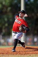 Edgewood College Eagles pitcher Jeff Wolf (22) delivers a pitch during a game against the Illinois College Blueboys on March 14, 2017 at Terry Park in Fort Myers, Florida.  Edgewood defeated Illinois College 11-2.  (Mike Janes/Four Seam Images)
