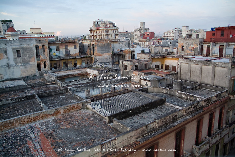 Sunrise over the old city rooftops, Havana, Cuba.