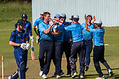 Cricket Scotland - the Citylets Scottish Cup Final between Carlton CC V Heriots CC at Meikleriggs, Paisley (Ferguslie CC) - a wicket for Aly Evans - picture by Donald MacLeod - 25.08.19 - 07702 319 738 - clanmacleod@btinternet.com - www.donald-macleod.com