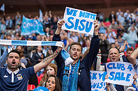 Coventry City supporters raise banners against owners SISU ahead of the The Checkatrade Trophy / EFL Trophy FINAL match between Oxford United and Coventry City at Wembley Stadium, London, England on 2 April 2017. Photo by Andy Rowland.