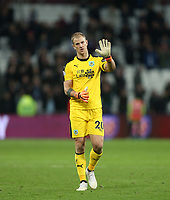 Burnley's Joe Hart acknowledges the Burnley fans at the end of the game<br /> <br /> Photographer Rob Newell/CameraSport<br /> <br /> The Premier League - West Ham United v Burnley - Saturday 3rd November 2018 - London Stadium - London<br /> <br /> World Copyright &copy; 2018 CameraSport. All rights reserved. 43 Linden Ave. Countesthorpe. Leicester. England. LE8 5PG - Tel: +44 (0) 116 277 4147 - admin@camerasport.com - www.camerasport.com