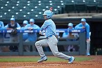 Brandon Riley (1) of the North Carolina Tar Heels follows through on his swing against the Boston College Eagles in Game Five of the 2017 ACC Baseball Championship at Louisville Slugger Field on May 25, 2017 in Louisville, Kentucky. The Tar Heels defeated the Eagles 10-0 in a game called after 7 innings by the Mercy Rule. (Brian Westerholt/Four Seam Images)