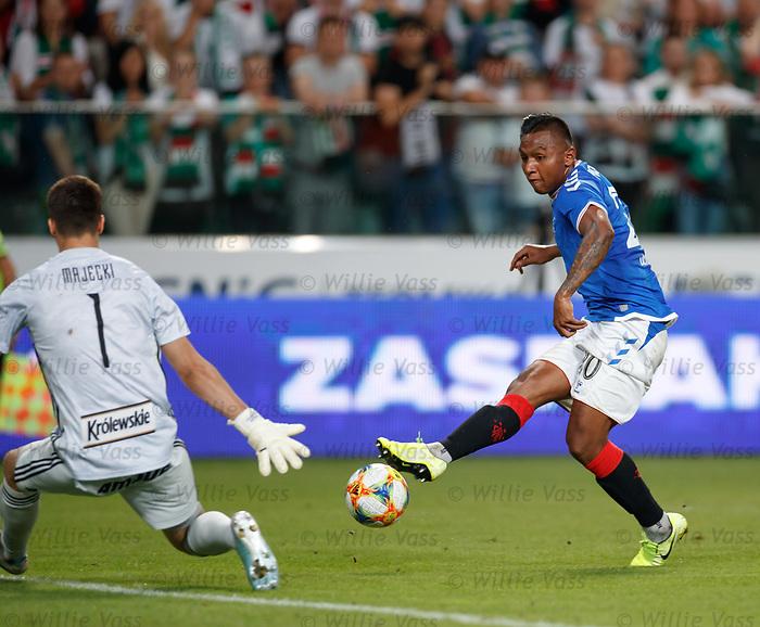 22.08.2019 Legia Warsaw v Rangers: Alfredo Morelos has his shot saved by Radoslaw Majecki