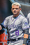 14 April 2018: Colorado Rockies outfielder Gerardo Parra walks the dugout prior to a game against the Washington Nationals at Nationals Park in Washington, DC. The Nationals rallied to defeat the Rockies 6-2 in the 3rd game of their 4-game series. Mandatory Credit: Ed Wolfstein Photo *** RAW (NEF) Image File Available ***