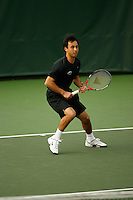 26 January 2006: Stanford's Jon Wong during doubles action during the Cardinal's 6-1 win over Hawaii at the Taube Family Tennis Stadium in Stanford, CA.