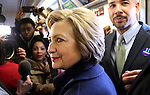 BRONX, NY - APRIL 07: U.S. Presidential candidate Hillary Clinton (D-NY) and Bronx borough President Ruben Diaz Jr. ride the subway from the 161st Street to the 170th Street subway station in the Bronx, NY, on April 07, 2016. (Photo by Yana Paskova/For The Washington Post)