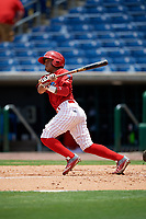 Clearwater Threshers second baseman Grenny Cumana (12) follows through on a swing during the second game of a doubleheader against the Lakeland Flying Tigers on June 14, 2017 at Spectrum Field in Clearwater, Florida.  Lakeland defeated Clearwater 1-0.  (Mike Janes/Four Seam Images)