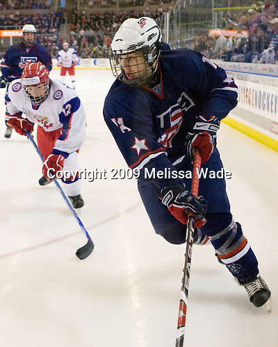 Andrey Ankudinov (Russia - 12), Kevin Lynch (US - 14) - The US defeated Russia 5-0 in the 2009 World Under 18 Championship gold medal game at the Urban Plains Center in Fargo, North Dakota, on Sunday, April 19, 2009.