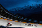 KRASNAYA POLYANA, RUSSIA  - JANUARY 17:<br /> Canada-3, with pilot Bryan Barnett and brakeman Justin Kripps, competes in the men's two-man bobsled at Sanki Sliding Center during the 2014 Sochi Olympics Monday February 17, 2014. The pair finished in sixth place with a time of 3:46.62. <br /> (Photo by Chris Detrick/The Salt Lake Tribune)