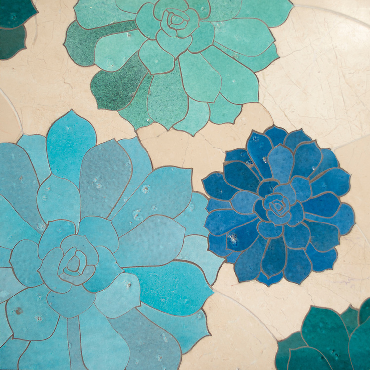 Zita, a waterjet stone mosaic, shown in honed Bursa Beige, polished Cornflower Basalto, Lotus Basalto, and Aloe Basalto, is part of the Bright Young Things™ collection by New Ravenna.
