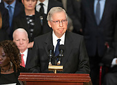 United States Senate Majority Leader Mitch McConnell (Republican of Kentucky) makes remarks during the Lying in State ceremony honoring the late US Senator John McCain (Republican of Arizona) in the US Capitol Rotunda in Washington, DC on Friday, August 31, 2018.<br /> Credit: Ron Sachs / CNP<br /> <br /> (RESTRICTION: NO New York or New Jersey Newspapers or newspapers within a 75 mile radius of New York City)