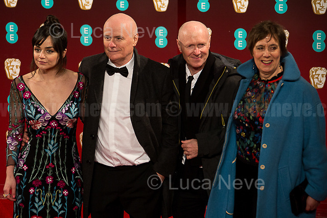 (From L to R) Hayley Squires, Dave Johns, Paul Laverty, Rebecca O' Brien (Movie: I, Daniel Blake).<br /> <br /> London, 12/02/2017. Red Carpet of the 2017 EE BAFTA (British Academy of Film and Television Arts) Awards Ceremony, held at the Royal Albert Hall in London.<br /> <br /> For more information please click here: http://www.bafta.org/