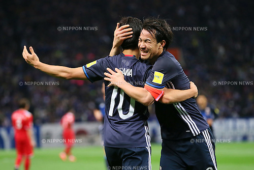 (L to R) Shinji Kagawa, Shinji Okazaki (JPN), MARCH 29, 2016 - Football / Soccer : FIFA World Cup Russia 2018 Asian Qualifier Second Round Group E match between Japan 5-0 Syria at Saitama Stadium 2002, Saitama, Japan. Okazaki was made captain for the night to celebrate his 100th cap for his country. He is Japan's third all-time goalscorer with 48 goals in his 100 games. (Photo by YUTAKA/AFLO SPORT)