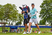 Nuria Iturrioz (ESP) smiles and waves as she heads down 2 during the round 3 of the KPMG Women's PGA Championship, Hazeltine National, Chaska, Minnesota, USA. 6/22/2019.<br /> Picture: Golffile | Ken Murray<br /> <br /> <br /> All photo usage must carry mandatory copyright credit (© Golffile | Ken Murray)