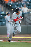 Danny Mars (2) of the Salem Red Sox hustles down the first base line Winston-Salem Dash at BB&T Ballpark on June 16, 2016 in Winston-Salem, North Carolina.  The Dash defeated the Red Sox 7-1.  (Brian Westerholt/Four Seam Images)