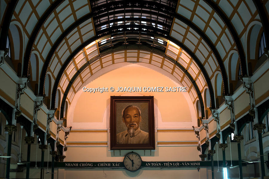 Detail of a picture of Ho Chi Minh inside the Central Post Office of Ho Chi Minh City, and was built at the end of the 19th century (from 1886 to 1891) by Gustave Eiffel himself, the same architect in charge Of the construction of the Eiffel tower of Paris.<br /> HO CHI MINH-VIETNAM