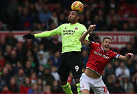 Sheffield United's Leon Clarke and Nottingham Forest's Michael Dawson<br /> <br /> Photographer Rachel Holborn/CameraSport<br /> <br /> The EFL Sky Bet Championship - Nottingham Forest v Sheffield United - Saturday 3rd November 2018 - The City Ground - Nottingham<br /> <br /> World Copyright &copy; 2018 CameraSport. All rights reserved. 43 Linden Ave. Countesthorpe. Leicester. England. LE8 5PG - Tel: +44 (0) 116 277 4147 - admin@camerasport.com - www.camerasport.com
