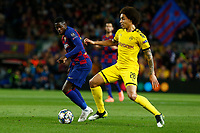27th November 2019; Camp Nou, Barcelona, Catalonia, Spain; UEFA Champions League Football, Barcelona versus Borussia Dortmund;  Dembele and  Axel Witsel challenge for the ball - Editorial Use