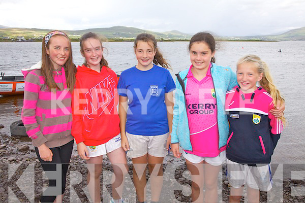 Crew members of the Killorglin U16's & U12's at the Waterville Regatta on Sunday pictured l-r; Alice Joy, Christina O'Brien, Clodagh Murphy, Caragh Browne & Hannah McGeever.