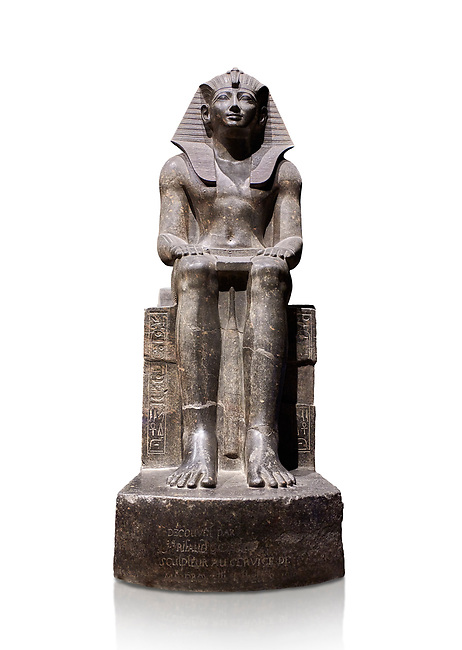 Ancient Egyptian statue of Tuthmosis II, granodorite, New Kingdom, 18th Dynasty, (1479-1425 BC), Karnak, Temple of Amun. Egyptian Museum, Turin. white background<br /> <br /> Tuthmosis II is shown wearing Royal regalia including the shendyt kilt, the nemes headdress and the uraeus cobra on his forehead. Between his legs in a bulls tail, the symbol of power. On the sides of the throne is the sema-tawy, a sign composed of a lotus and papyrus, the symbols od Upper and Lower Egypt. Under the feet of the king are the Nine Bows, the enemies of Egypt. Together these symbolise that the pharaoh keeps the two halves of Egypt together and protects them against her enemies. Drovetti Collection. C 1376