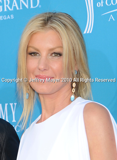 LAS VEGAS, Nevada - April 18: Singer Faith Hill  arrives for the 45th Annual Academy of Country Music Awards at the MGM Grand Garden Arena on April 18, 2010 in Las Vegas, Nevada.