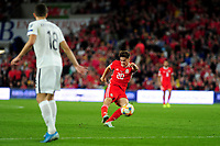 Daniel James of Wales in action during the UEFA Euro 2020 Qualifier match between Wales and Azerbaijan at the Cardiff City Stadium in Cardiff, Wales, UK. Friday 06, September 2019