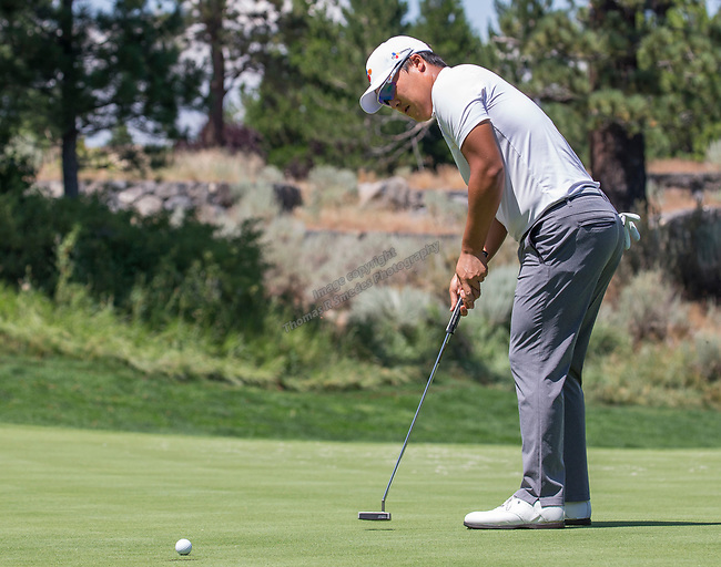 Kyoung-Hoon Lee putts on the 2nd green during the Barracuda Championship PGA golf tournament at Montrêux Golf and Country Club in Reno, Nevada on Saturday, July 27, 2019.