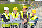Busy preparing Fitzgerald Stadium for The Pussycat Dolls Summerfest concert and the Kerry/Cork Munster championship clash are l-r: Patrick O'Donoghue Killarney Mayor, Shane O'Driscoll Summerfest, Tadgh Moriarty Summerfest and Billy Doolan Fitzgerald Stadium Event Controller