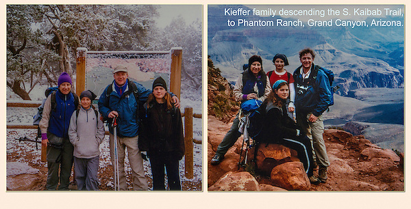 When we arrived at the South Rim, a spring snowstorm was swirling over the canyon's opening. The next morning, we began our descent on a snow-covered South Kaibab Trail. The morning turned to bright sun, as we descended to Phantom Ranch along the Colorado River, Grand Canyon, Arizona.