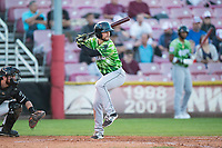 Eugene Emeralds second baseman Levi Jordan (20) at bat in front of catcher Will Albertson (1) during a Northwest League game against the Salem-Keizer Volcanoes at Volcanoes Stadium on August 31, 2018 in Keizer, Oregon. The Eugene Emeralds defeated the Salem-Keizer Volcanoes by a score of 7-3. (Zachary Lucy/Four Seam Images)