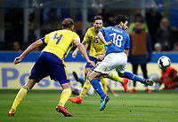Soccer Football - 2018 World Cup Qualifications - Europe - Italy vs Sweden - San Siro, Milan, Italy - November 13, 2017 <br /> Italy' Marco Parolo (r) in action with Sweden's captain Andreas Granqvist (l) during the FIFA World Cup 2018 qualification football match between Italy and Sweden at the San Siro Stadium in Milan on November 13, 2017.<br /> UPDATE IMAGES PRESS/Isabella Bonotto