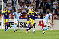 Thursday 08 August 2013<br /> Pictured: Chico Flores of Swansea (C) marked by Tokelo Rantie of Malmo (L)<br /> Re: Malmo FF v Swansea City FC, UEFA Europa League 3rd Qualifying Round, Second Leg, at the Swedbank Stadium, Malmo, Sweden.