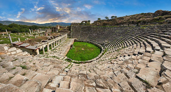 Roman theatre of Aphrodisias dedicated to Aphrodite and the people of the city by Julius Zoilos in the  2nd half of 1st century BC. Seats over 8000 people. Aphrodisias Archaeological Site, Aydin Province, Turkey.
