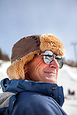 USA, California, Mammoth, a bystander watches the skiers and boarders compete at Mammoth Ski Resort