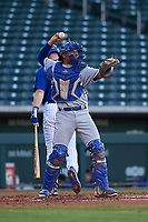 AZL Royals catcher Omar Hernandez (12) during an Arizona League game against the AZL Cubs 1 on June 30, 2019 at Sloan Park in Mesa, Arizona. AZL Royals defeated the AZL Cubs 1 9-5. (Zachary Lucy/Four Seam Images)