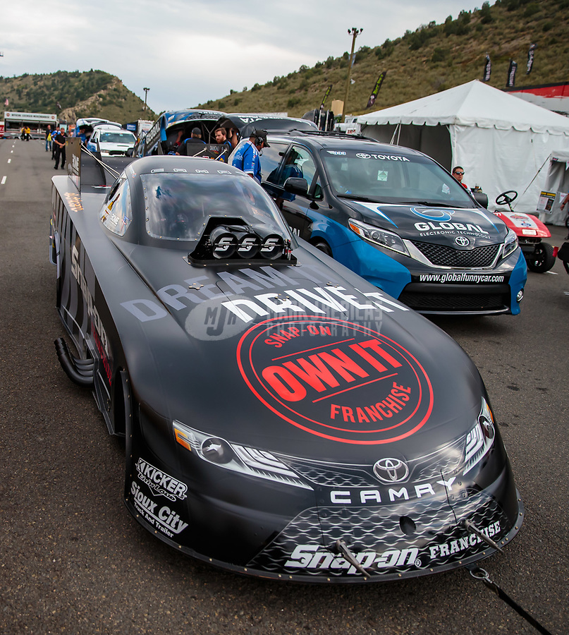 Jul 20, 2018; Morrison, CO, USA; NHRA funny car driver Cruz Pedregon during qualifying for the Mile High Nationals at Bandimere Speedway. Mandatory Credit: Mark J. Rebilas-USA TODAY Sports