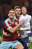 22/04/2016 Sky Bet Championship Preston North End v Burnley<br /> Sam Vokes with Paul Gallagher