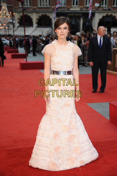 Keira Knightley (wearing Chanel)  .The World Premiere of 'Anna Karenina', The Odeon Leicester Square, London, England..4th September 2012.full length peach pink white sheer fluffy ruffle dress silver belt  .CAP/BEL.©Tom Belcher/Capital Pictures.