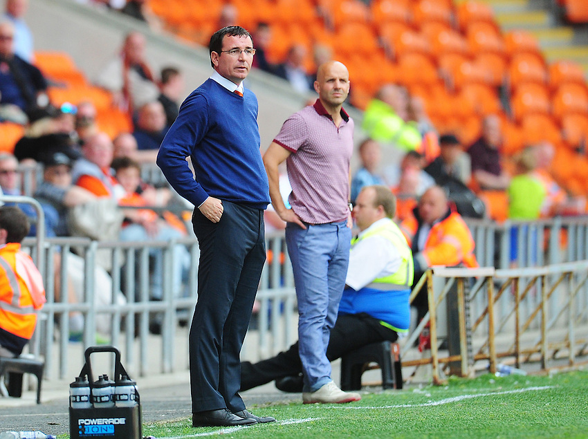 Blackpool manager Gary Bowyer and Exeter City manager Paul Tisdale look on from the touchline<br /> <br /> Photographer Kevin Barnes/CameraSport<br /> <br /> Football - The EFL Sky Bet League Two - Blackpool v Exeter City - Saturday 6th August 2016 - Bloomfield Road - Blackpool<br /> <br /> World Copyright © 2016 CameraSport. All rights reserved. 43 Linden Ave. Countesthorpe. Leicester. England. LE8 5PG - Tel: +44 (0) 116 277 4147 - admin@camerasport.com - www.camerasport.com