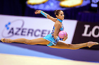 Irina Tchachina of Russia split leaps with ball during All-Around competition at World Championships at Baku, Azerbaijan on October 8, 2005. (Photo by Tom Theobald)
