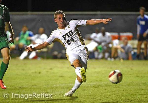 Florida International University men's soccer forward Luca Giovine (24) plays against Marshall University. FIU won the match 5-1 on September 26, 2015 at Miami, Florida.