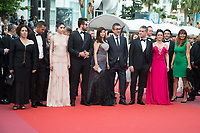 CANNES, FRANCE - MAY 18:  Actress Bennu Yildirimlar, actor Murat Cemcir, writer Ebru Ceylan, director Nuri Bilge Ceylan, actor Dogu Demirkol, actress Hazar Erguclu and actor Akin Aksu attend the screening of 'The Wild Pear Tree (Ahlat Agaci)'  during the 71st annual Cannes Film Festival at Palais des Festivals on May 17, 2018 in Cannes, France. <br /> <br /> Picture: Kristina Afanasyeva/Featureflash/SilverHub 0208 004 5359 sales@silverhubmedia.com