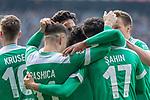 13.04.2019, Weser Stadion, Bremen, GER, 1.FBL, Werder Bremen vs SC Freiburg, <br /> <br /> DFL REGULATIONS PROHIBIT ANY USE OF PHOTOGRAPHS AS IMAGE SEQUENCES AND/OR QUASI-VIDEO.<br /> <br />  im Bild<br /> <br /> 2:0 kopfball Theodor Gebre Selassie (Werder Bremen #23) <br /> <br /> jubel <br /> Max Kruse (Werder Bremen #10) <br /> Milot Rashica (Werder Bremen #11) Nuri Sahin (Werder Bremen #17)<br /> Ludwig Augustinsson (Werder Bremen #05)<br /> Claudio Pizarro (Werder Bremen #04)<br /> Foto © nordphoto / Kokenge