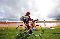 20 JUL 2008 - MANLEY, UK - A competitor arrives in transition to prepare for the start - Deva Divas Triathlon. (PHOTO (C) NIGEL FARROW)