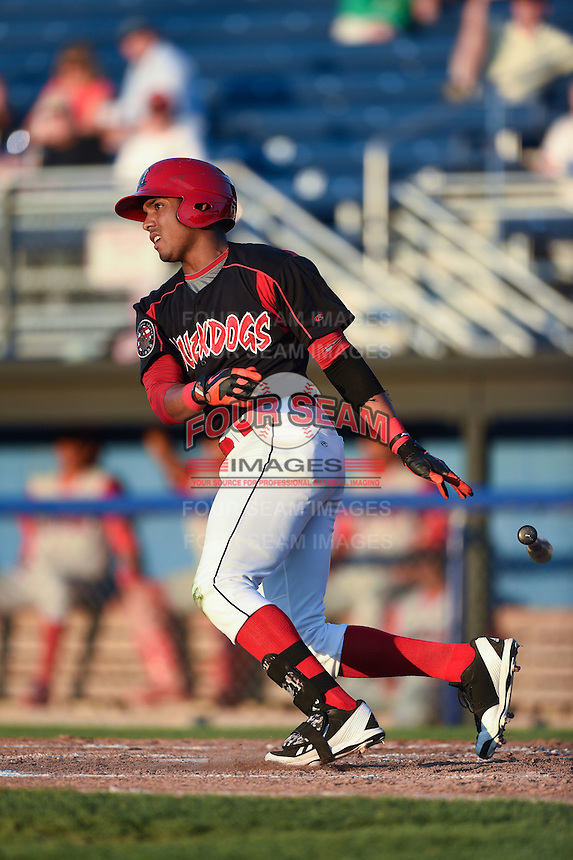 Batavia Muckdogs outfielder John Norwood (23) at bat during a game against the Williamsport Crosscutters on August 25, 2014 at Dwyer Stadium in Batavia, New York.  Batavia defeated Williamsport 3-0.  (Mike Janes/Four Seam Images)