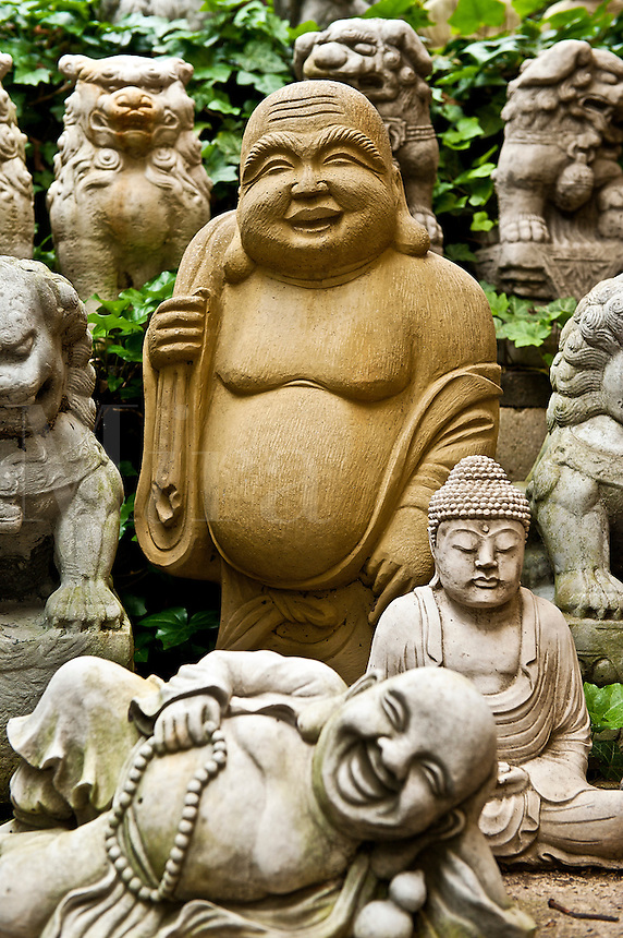 Asian buddha garden statues.