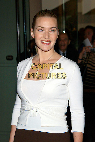 KATE WINSLET.77th Annual Academy Award Nominees Luncheon held at the Beverly Hilton Hotel. Beverly Hills, California .February 7th, 2005.Photo Credit: Jacqui Wong/AdMedia.half length white cardigan top ribbon.www.capitalpictures.com.sales@capitalpictures.com.© Capital Pictures.