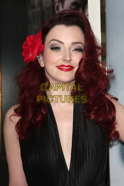 Miss Polly Rae.'Ghost - The Musical' Opening Night at the Piccadilly Theatre, London, England..July 19th 2011.headshot portrait black sleeveless dress lipstick make-up beauty red flower in hair.CAP/ROS.©Steve Ross/Capital Pictures