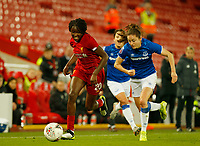 17th November 2019; Anfield, Liverpool, Merseyside, England; Womens Super League Footballl, Liverpool Women versus Everton; Rinsola Babajide of Liverpool FC Women drives past Danielle Turner of Everton - Editorial Use